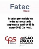 Aulas presenciais em todas as Fatecs serão suspensas a partir de 16 de março 2020 (segunda-feira).